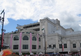 At the paddock for the Oaks.